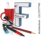 """f"" 3d letter with office stuff ... 
