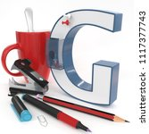 """g"" 3d letter with office stuff ... 
