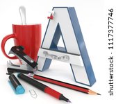 """a"" 3d letter with office stuff ... 