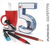 """five"" 3d number with office... 