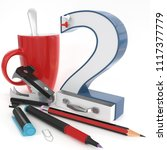 """two"" 3d number with office... 