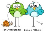 couple of birds walking with... | Shutterstock .eps vector #1117378688