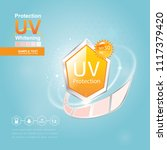 sun block or uv protection and... | Shutterstock .eps vector #1117379420