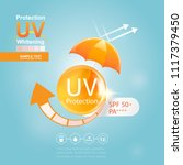 sun block or uv protection and... | Shutterstock .eps vector #1117379450