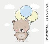 cartoon cute little bear. baby... | Shutterstock .eps vector #1117379726