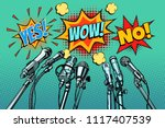 press conference microphones... | Shutterstock .eps vector #1117407539