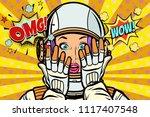 omg wow pop art woman astronaut....   Shutterstock .eps vector #1117407548