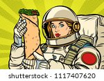 hungry woman astronaut with... | Shutterstock .eps vector #1117407620