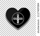 heart and medical cross. simple ... | Shutterstock .eps vector #1117409384