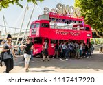Small photo of London. June 2018. A view of the Snog frozen yogurt bus along the south bank in London