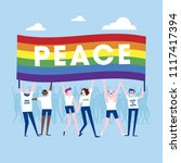 gay parade. people with... | Shutterstock .eps vector #1117417394