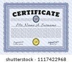 blue certificate diploma or... | Shutterstock .eps vector #1117422968