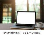 empty space wood desk with...   Shutterstock . vector #1117429088