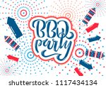july 4th bbq party lettering... | Shutterstock .eps vector #1117434134