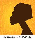 african woman face silhouette ...   Shutterstock . vector #111743594