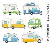 camping trailers set. camper ... | Shutterstock .eps vector #1117437653