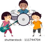 Illustration of a Little Kids Singing and Playing the Drums and Guitar - stock vector