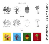 burning tree  palm  acorn  dry... | Shutterstock .eps vector #1117454390