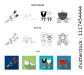 wedding and attributes cartoon  ...   Shutterstock .eps vector #1117454444