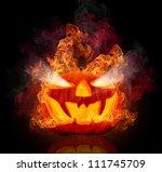 burning halloween pumpkin ... | Shutterstock . vector #111745709