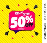 sale tag 50  off  speech bubble ... | Shutterstock .eps vector #1117458146