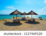 straw umbrellas at adriatic...   Shutterstock . vector #1117469120