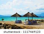 straw umbrellas at adriatic...   Shutterstock . vector #1117469123