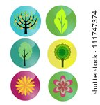 buttons set with nature symbols | Shutterstock .eps vector #111747374