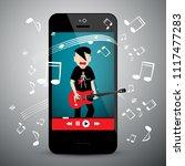 music app on cellphone. rock...   Shutterstock .eps vector #1117477283