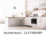stylish kitchen interior in... | Shutterstock . vector #1117484489