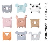 vector set of cute animals with ... | Shutterstock .eps vector #1117487210