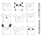 vector set of cute animals with ... | Shutterstock .eps vector #1117487216