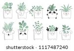 vector set of cute house plants ... | Shutterstock .eps vector #1117487240