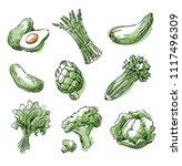 assortment of green foods ... | Shutterstock .eps vector #1117496309