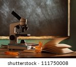 school microscope in classroom... | Shutterstock . vector #111750008