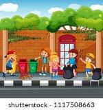 happy children collecting... | Shutterstock .eps vector #1117508663