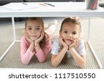 portrait of little sisters... | Shutterstock . vector #1117510550