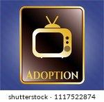 golden badge with old tv ... | Shutterstock .eps vector #1117522874