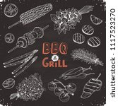 grill time. hand drawn bbq... | Shutterstock .eps vector #1117523270