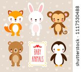 vector set with cute animals in ... | Shutterstock .eps vector #1117530488