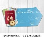 passport with airline boarding... | Shutterstock .eps vector #1117530836