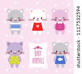vector set with cute kittens in ... | Shutterstock .eps vector #1117532594