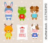 vector set with cute animals in ... | Shutterstock .eps vector #1117535393