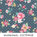 seamless cute vintage floral... | Shutterstock .eps vector #111754418
