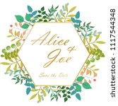 set of floral vintage wedding...   Shutterstock .eps vector #1117544348