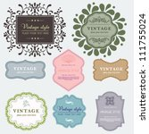 vintage vector set labels.... | Shutterstock .eps vector #111755024