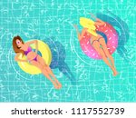sexy girls relaxing on ring... | Shutterstock .eps vector #1117552739