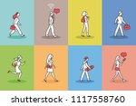 walking people pictogram set....   Shutterstock .eps vector #1117558760