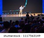 presenter presenting on stage... | Shutterstock . vector #1117563149