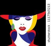 Girl In Hat In Pop Art Style....